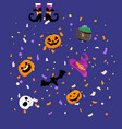 halloween greeting card concept flying paper vector image vector image