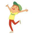 happy caucasian jumping vector image