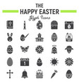 happy easter glyph icon set holiday symbols vector image vector image