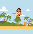 hawaii dancing woman vector image vector image