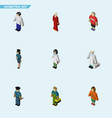 isometric person set of female guy officer and vector image vector image