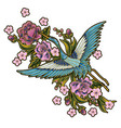 japanese blue cranes with pink flowers elements vector image