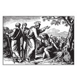 jesus heals ten lepers and only the samaritan vector image vector image