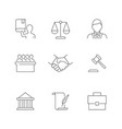 lawyer and law line icons on white background vector image vector image