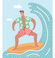 man surfing on the ocean vector image