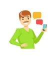 Man With Moustache Texting Messages Part Of vector image vector image