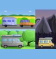 motorhome banner set cartoon style vector image