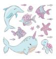 ocean animals underwater cartoon sea summer vector image vector image