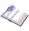 open book with butterfly vector image vector image