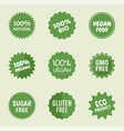 organic product icons natural food labels vector image