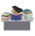 Owl in mortarboard reading book vector image vector image