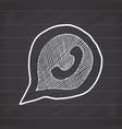 phone handset in speech bubble hand drawn icon vector image