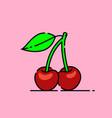 red cherries icon vector image