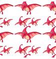 seamless pattern tile cartoon with dinosaur vector image