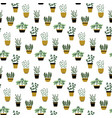 seamless pattern with culinary herbs in pots vector image vector image