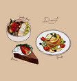 set dessert smoothie bowl pancake and brownie vector image vector image