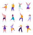 set flat people joyful and positive characters vector image