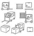 set of forklift truck vector image vector image
