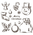 Set of Merry Christmas hand drawn icons and vector image vector image