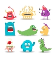Set of nine cartoon cute monsters on white vector image vector image