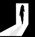 silhouette in the doorway vector image vector image