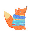 Smiling fox in sweater
