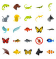 tropical animals icons set flat style vector image vector image