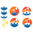 vintage colored oil rig company labels vector image vector image