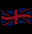 waving uk flag mosaic of fist items vector image