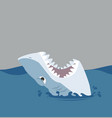 white shark open mouth in sea vector image vector image