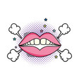 woman mouth pop art style vector image vector image