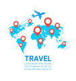 world travel by plane template banner airplane fly vector image vector image