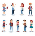 young people in casual clothes standing set vector image vector image