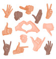 hands showing different gestures isolated on white vector image
