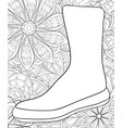 adult coloring bookpage a christmas boot on the vector image vector image