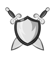 Battle shield with swords icon vector image vector image