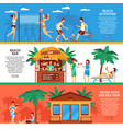 beach horizontal banners set vector image vector image