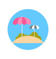 beach with sun umbrellas icon summer vacation on vector image