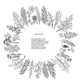 black silhouette floral and herb wreath vector image