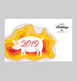 chinese zodiac sign year of pig red paper cut pig vector image
