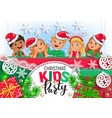 christmas kids party design vector image vector image