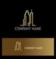 cityscraper building line gold logo vector image vector image