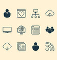 connection icons set collection of user team vector image vector image