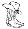Cowboy boots and hat graphic isolated vector image vector image