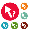 cursor question icons circle set vector image vector image