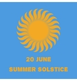 Emblem or poster of the sun on a blue background vector image