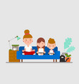 family practice sitting meditation together on vector image
