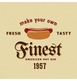 Finest American Hot Dog Vintage Card vector image