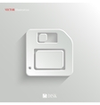 Floppy diskette icon - white app button vector image