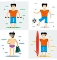 Four man on summer beach vector image